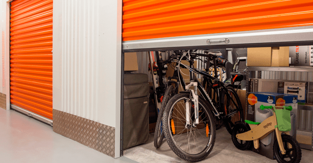 medium sized locker storing sporting goods | Store-y Self Storage