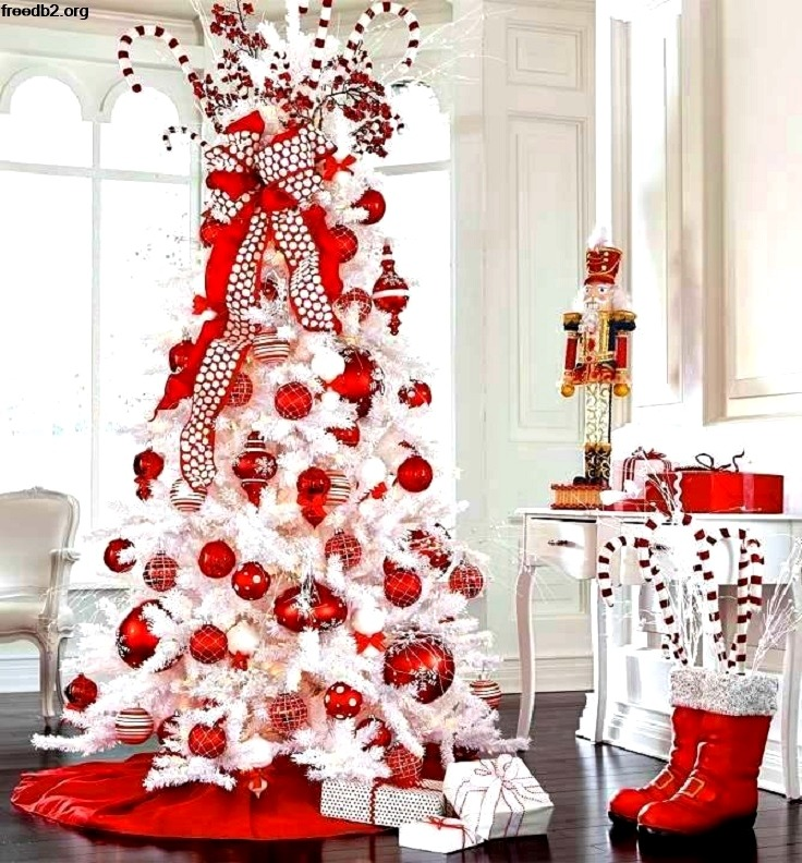 red and white Christmas tree