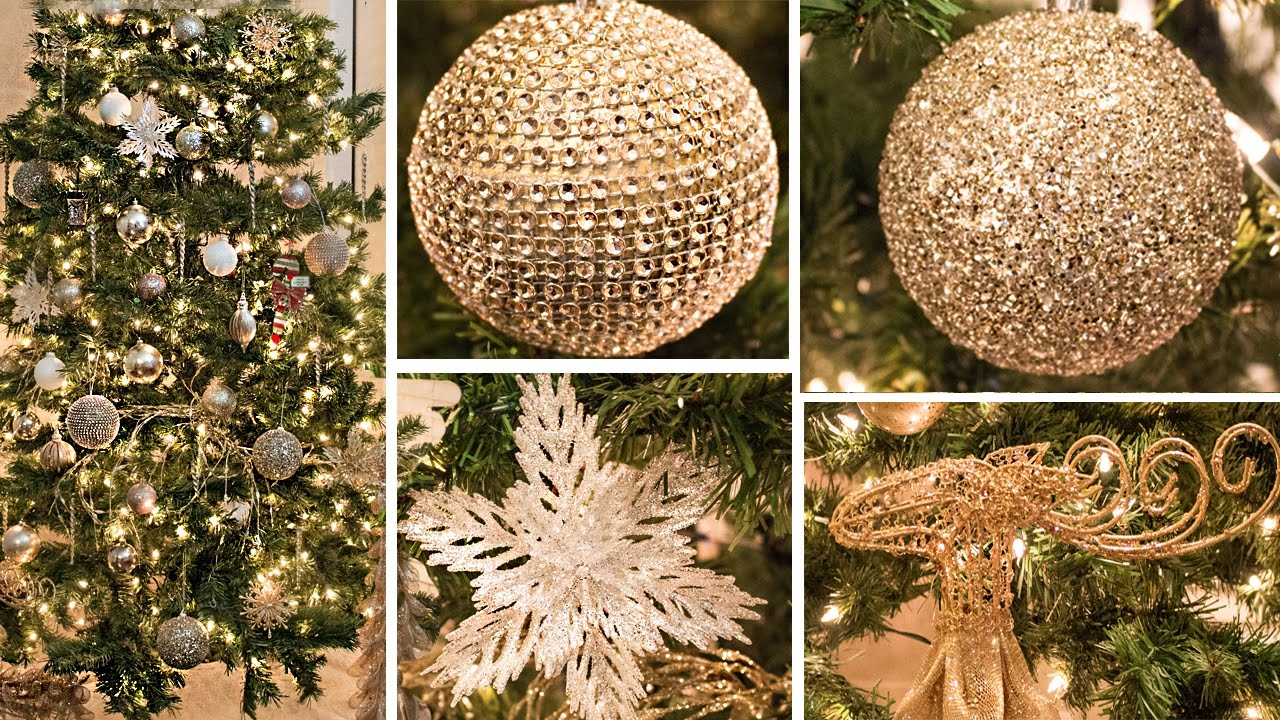 Gold themed Christmas decorations