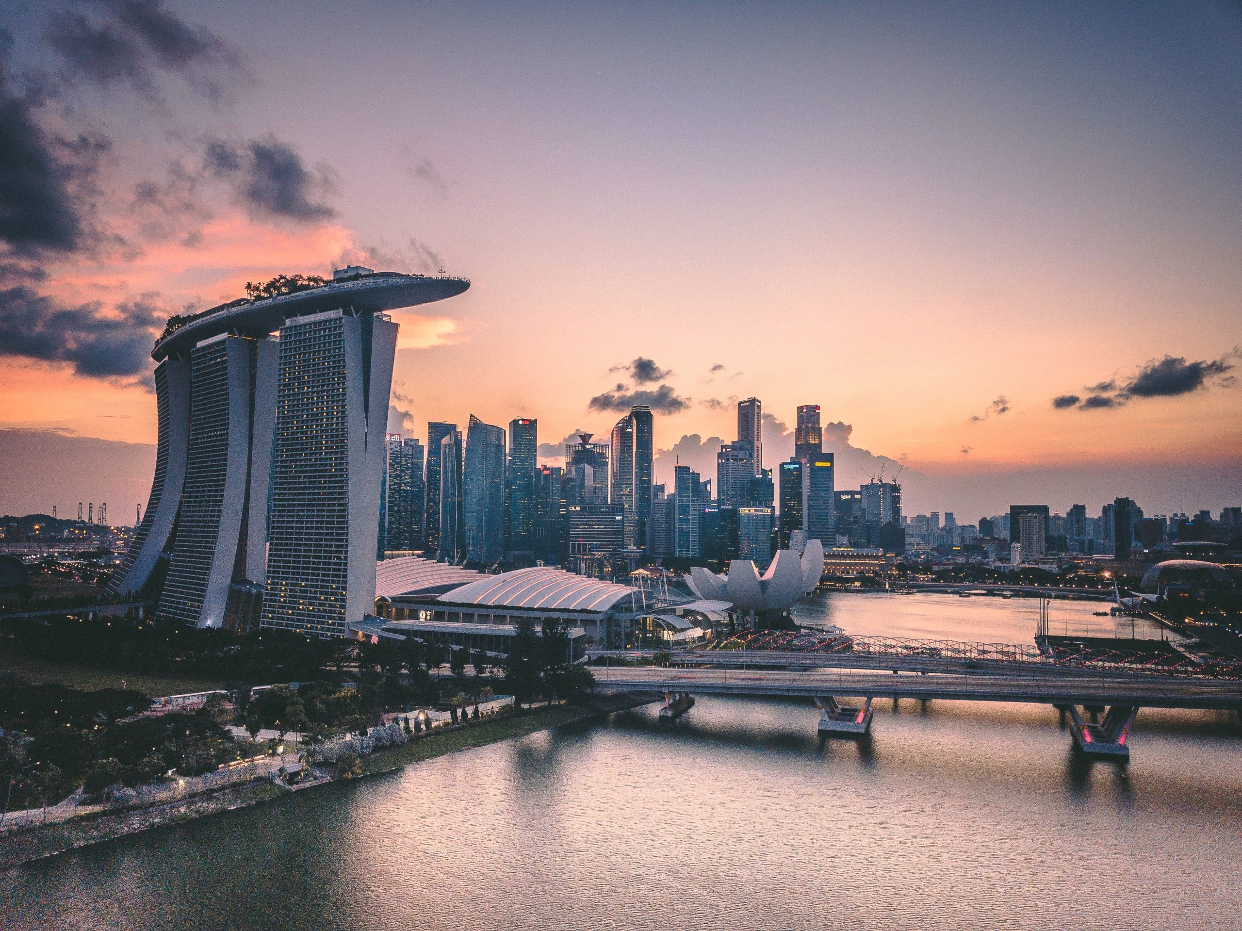 buildings in singapore during sunset