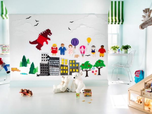 a fun kids playroom with playful decorations