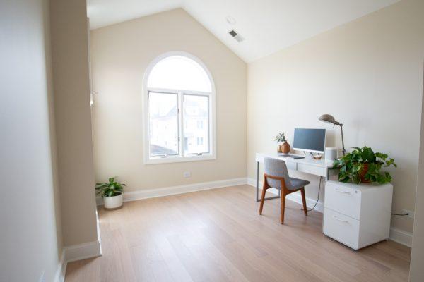 a spacious minimalist home office