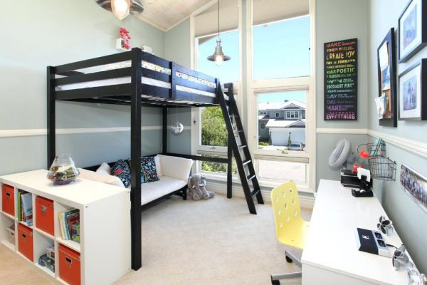 a simple black bunk bed for teens