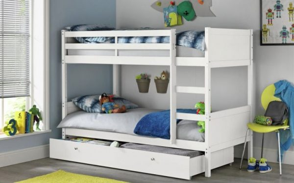 a simple white bunk bed with drawers