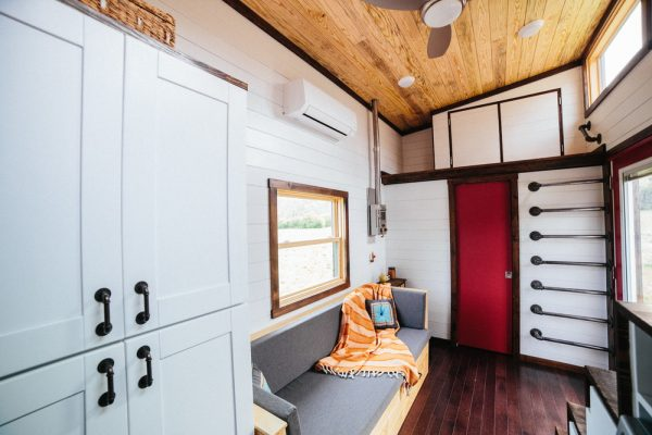 a tiny home with storage spaces