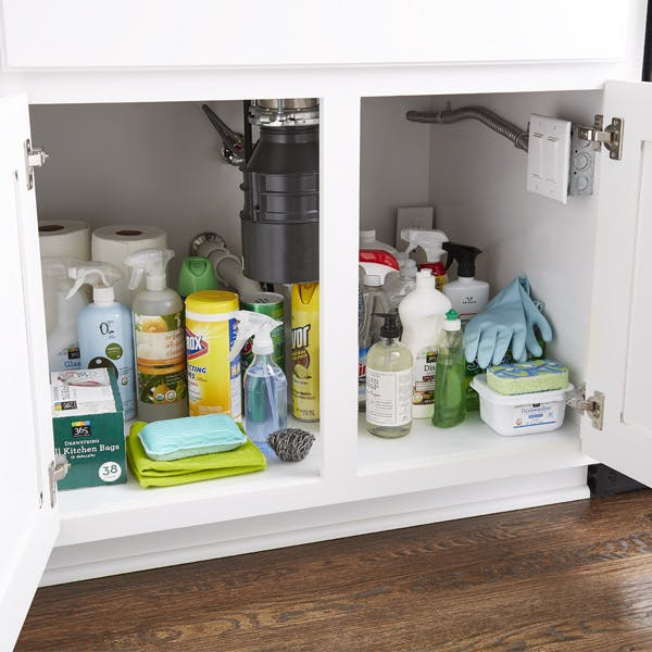 cleaning supplies under a kitchen sink