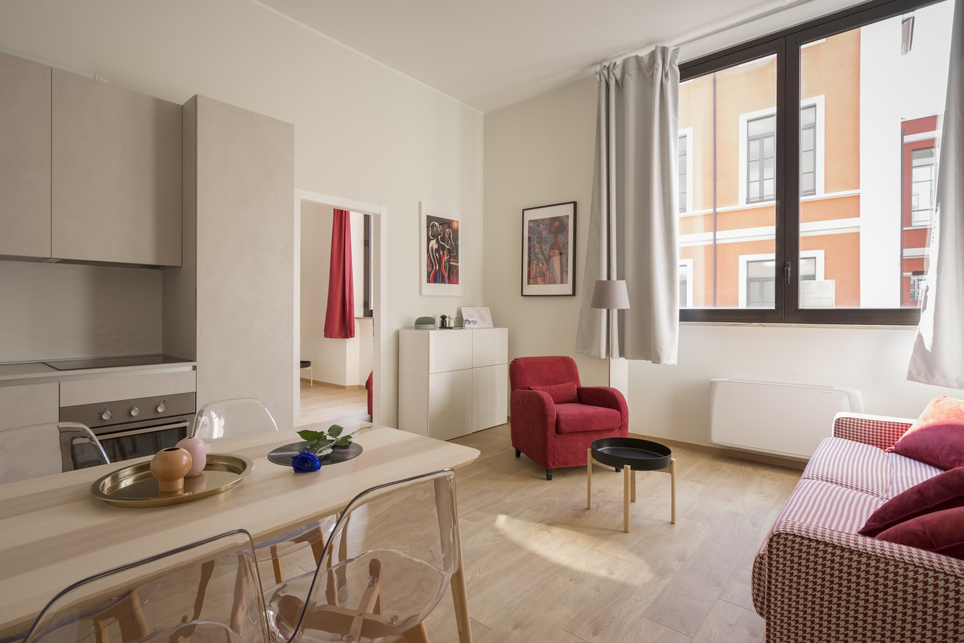 apartment space with red decor